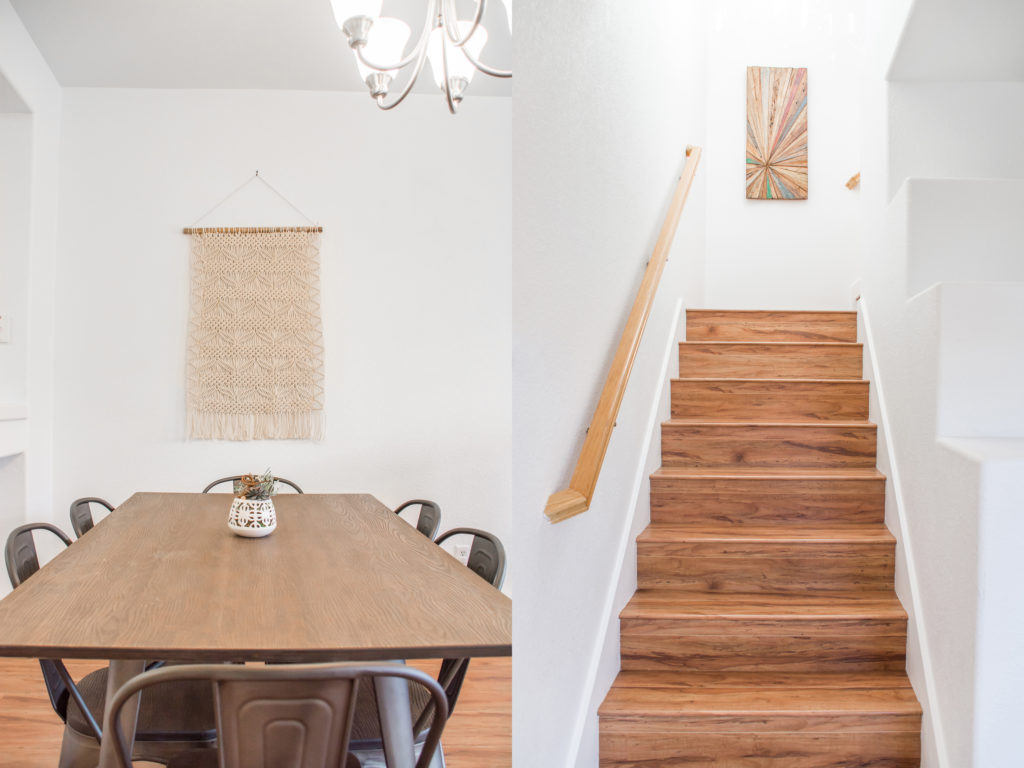 The dining table and stairs at Gina's San Ramon vacation rental