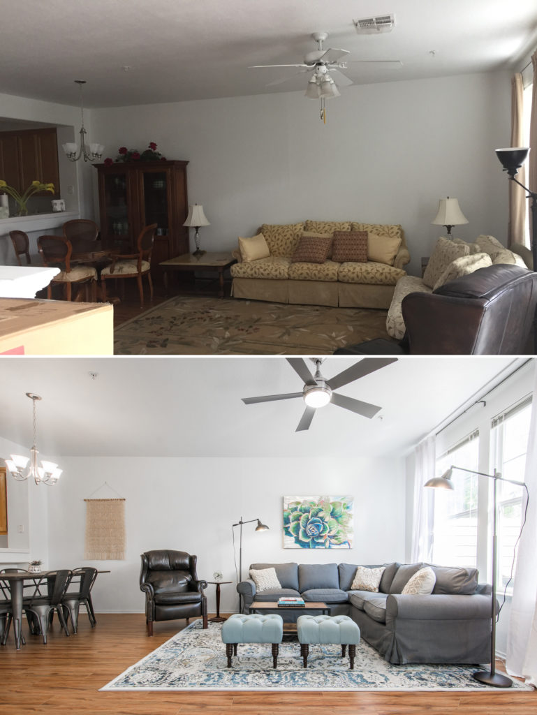 The living area before and after
