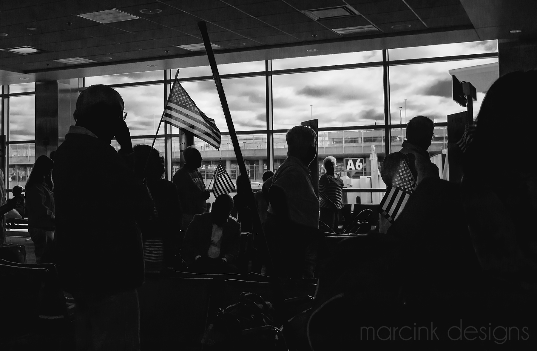 Arrival at Baltimore. The entire gate area had stopped to cheer for the veterans as they came off the plane.