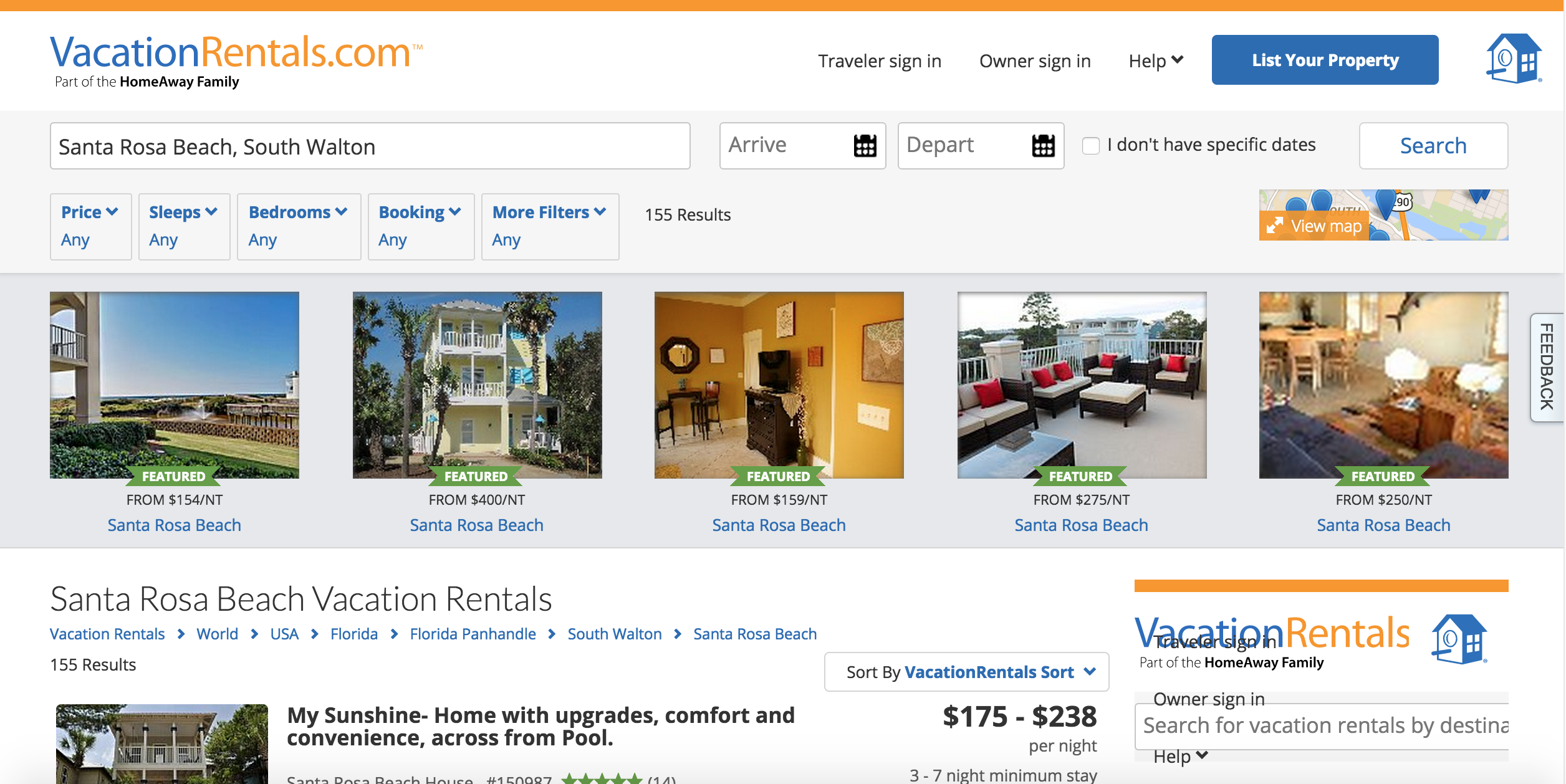 """Santa Rosa Beach Vacation Rentals"" search result"