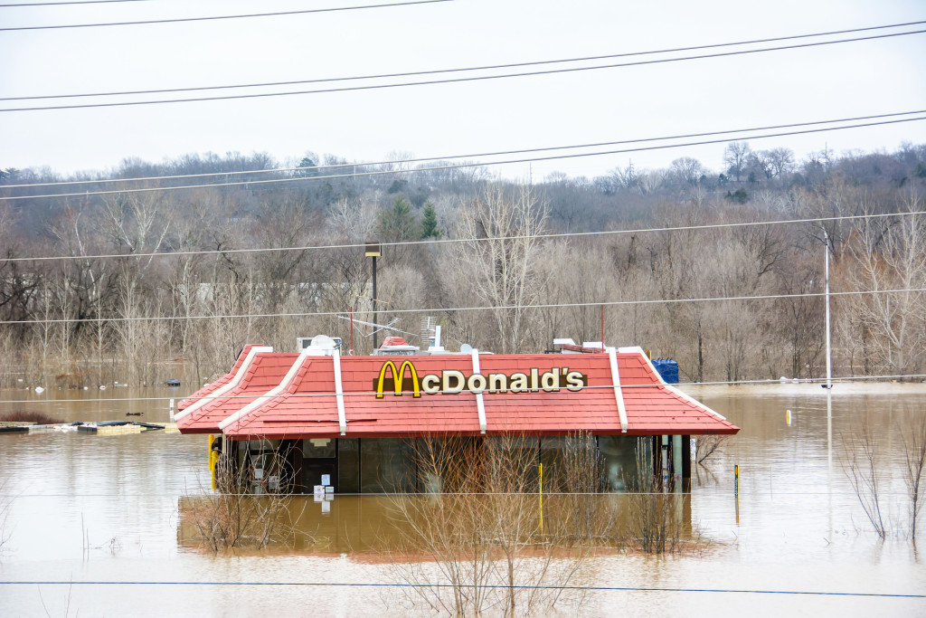Area restaurants that were flooded include McDonald's, Jack-in-theBox, and the Jimmy John's that opened less than a week prior to the flood.