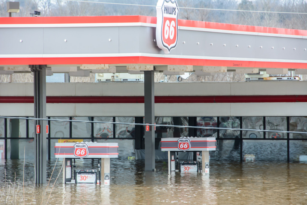 Both the Phillips 66 and Quick Trip were flooded out.