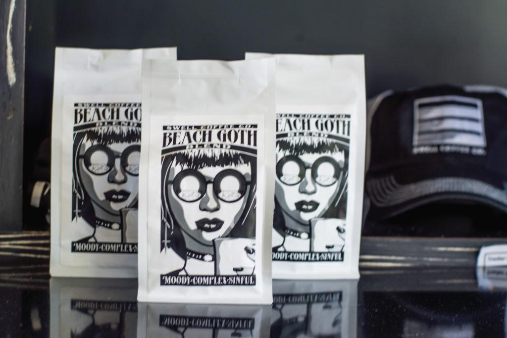 Beach Goth coffee at Swell Coffee Cafe, Mission Beach, San Diego, California